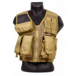 DMoniac Recon Tan 8 Pocket Tactical Vest and Holster 911304
