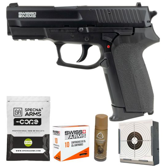 Pack airsoft SWISS ARMS 2022 Co2 Culasse metal