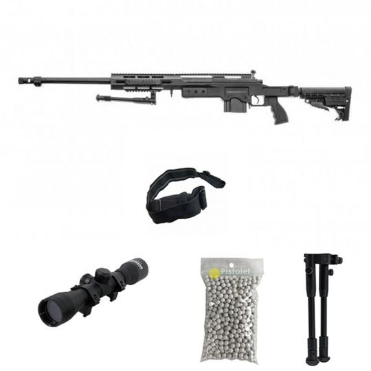 Pack airsoft Swiss Arms S.A.S 012 Bk Sniper MSR