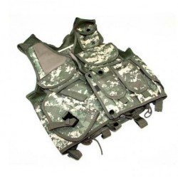 Digital camouflage tactical vest with holster