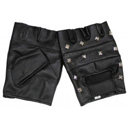 Square studded leather mittens size XL MFH