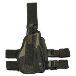 Woodland camo right-handed thigh holster